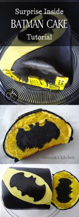 Surprise Inside Batman Cake - a surprise inside batman cake for batman fans