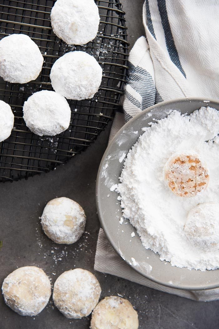 Mexican Wedding Cookies coated in a second layer of confectioner's sugar - making them look more like snowball cookies