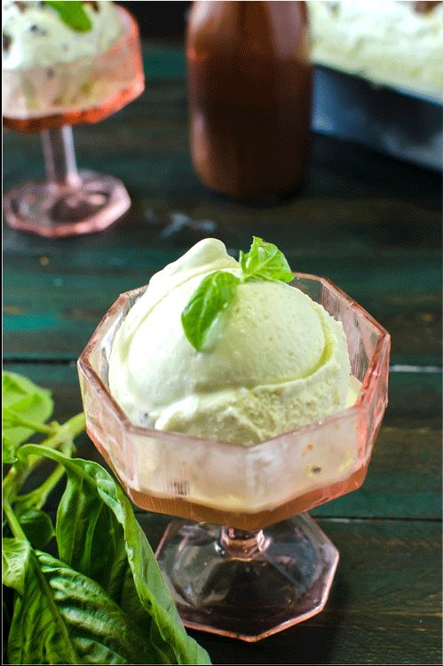Basil Vanilla Ice Cream - A creamy vanilla ice cream with a delightfully fresh, earthy basil flavour, that's not overpowering. And then top it with an easy chocolate magic shell sauce, and you've got a habit-forming ice cream!