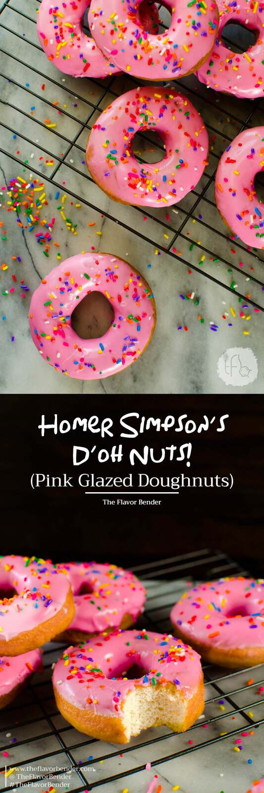The Simpsons Doughnuts - These pink glazed doughnuts with sprinkles is Homer Simpsons favorite snack!  and now you can make them at home with a FULL TUTORIAL to make perfect doughnuts everytime!