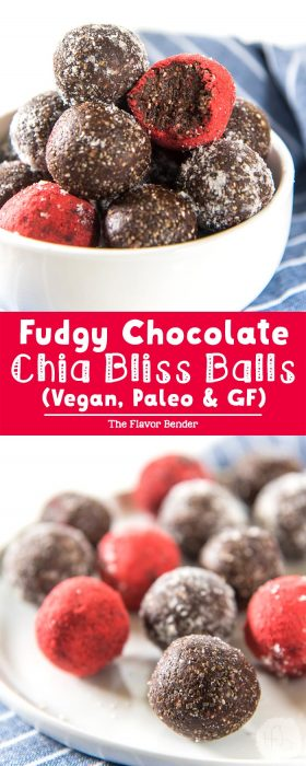 Fudgy Chocolate Chia Bliss Balls -fudgy, chocolatey and insanely delicious AND they're healthy, vegan, and paleo too! Just FOUR ingredients and a few minutes to make these treats your family will love!