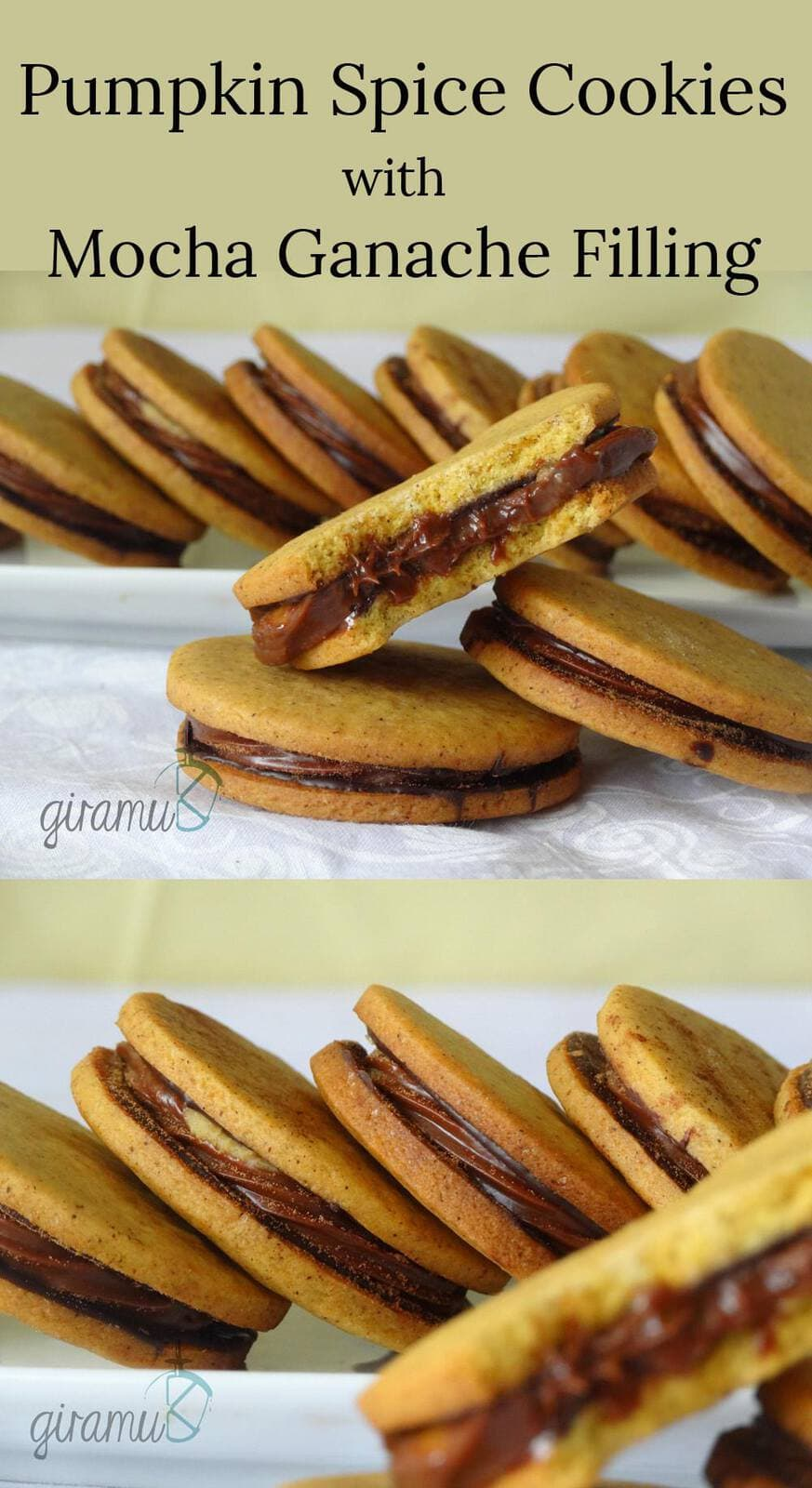 Pumpkin Spice Cookies with Mocha Ganache Filling