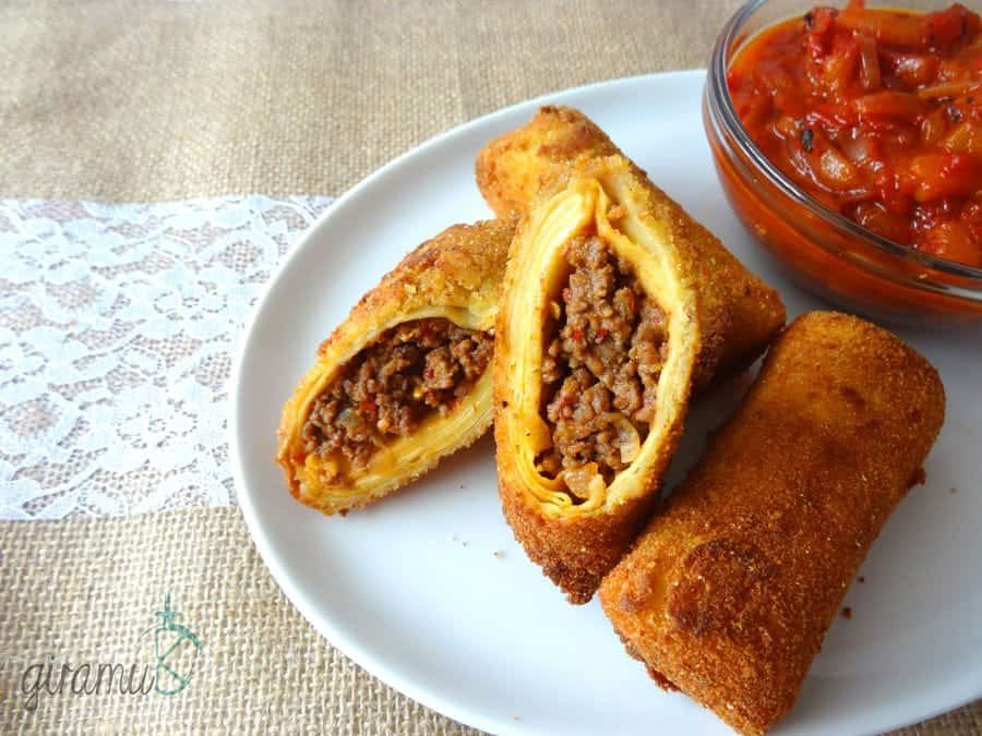 Fried Savoury Crepe Rolls