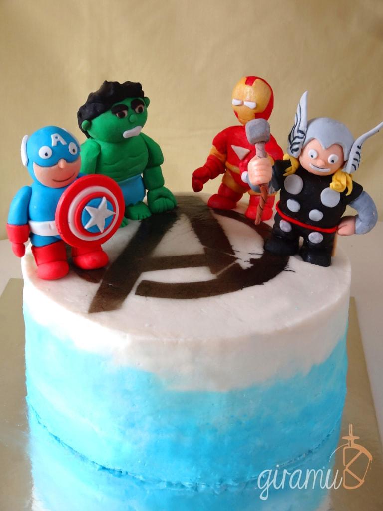 Blue Ombre Cream Cheese Frosting & Red Velvet Avengers Cake