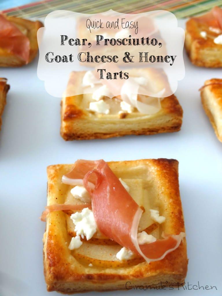 Pear, Prosciutto, Goat Cheese & honey Tarts