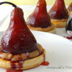 Fruit and Nut Chocolate Stuffed Poached Pear Tarts