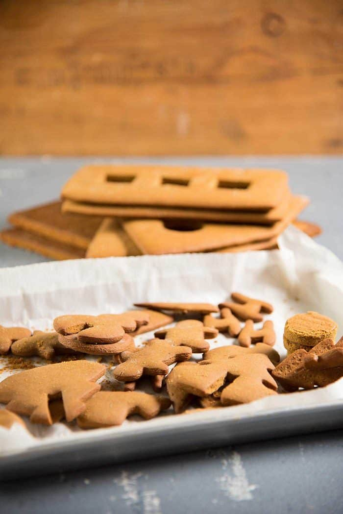 Gingerbread House - Cut out cookies from gingerbread dough scraps.