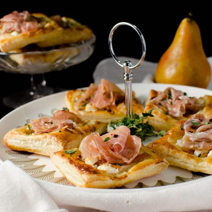 Pear, Prosciutto, Goat Cheese and Honey Tarts