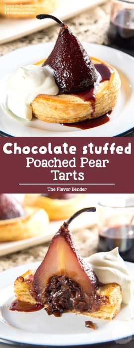 Delicious poached pear tarts, baked in frangipane and filled with a gooey chocolate filling. A show-stopping dessert! #PoachedPears #PearTart #WarmDessert #TheFlavorBender