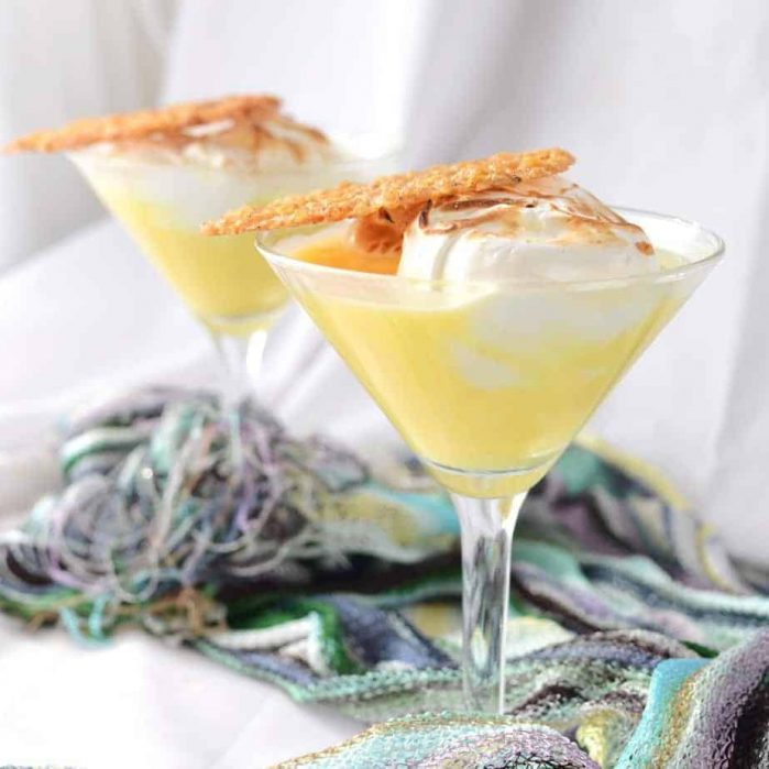 Lemon Meringue Pie Cocktail with Lemon and Oat Lace Cookie