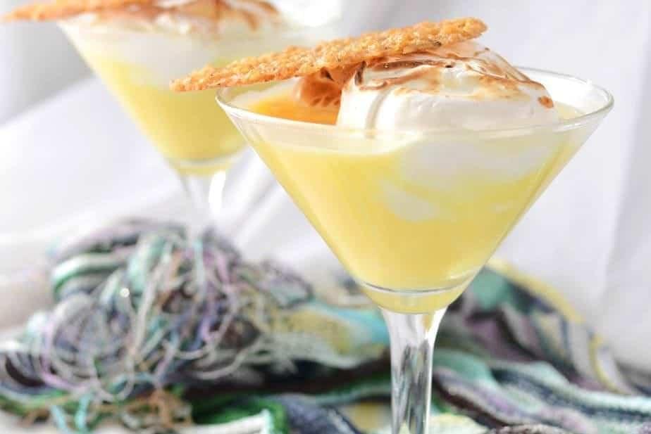 Lemon Meringue Pie Cocktail with Lemon and Oat Lace Cookie