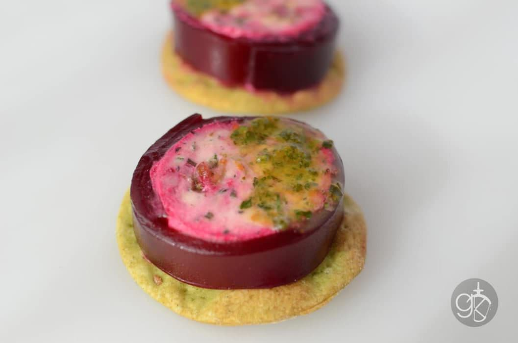Pickled Beet Jelly with Goat cheese and Candied Pistachios