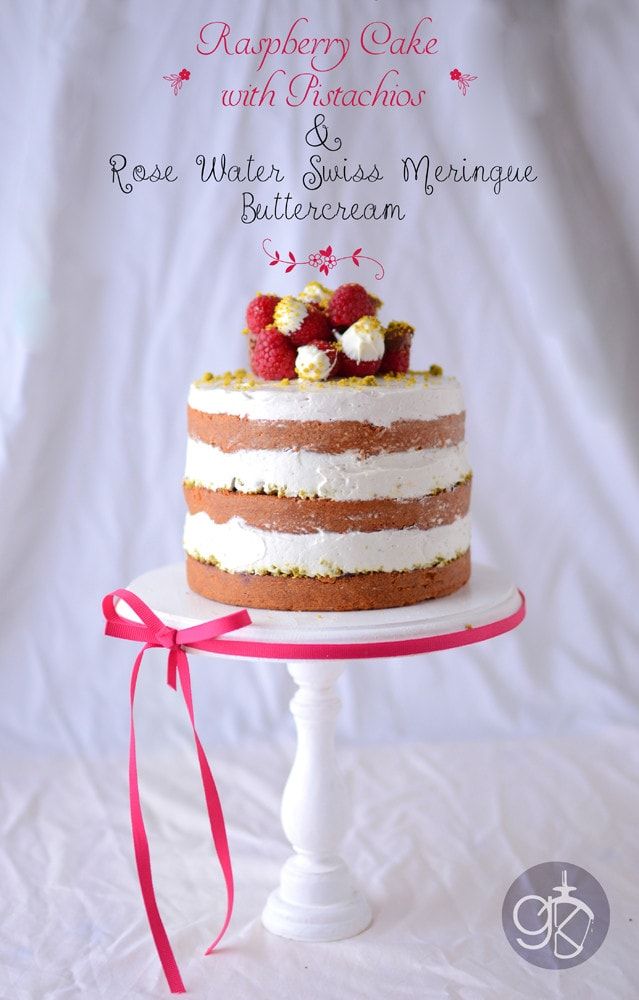 Naked Raspberry cake with Pistachio and Rose water Swiss Meringue Buttercream.