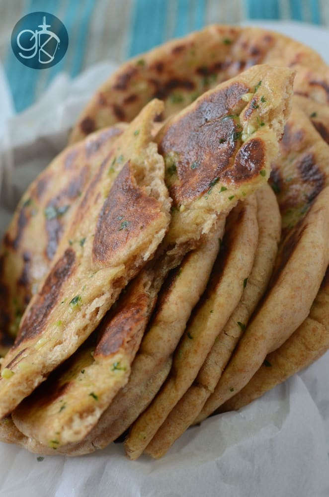 Whole Wheat Naan with Garlic & Cilantro Butter