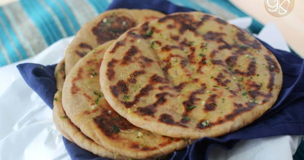 Whole Wheat Naan with Garlic & Cilantro Butter | The Flavor Bender