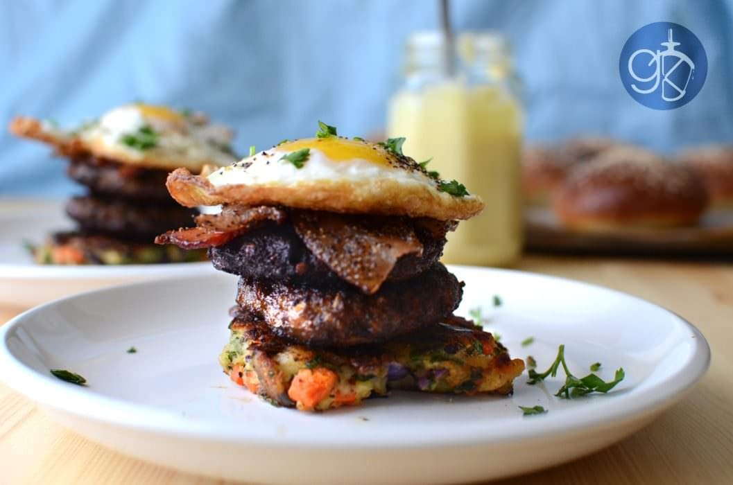 Chargrilled Asian Spiced Breakfast Sausage and Bubble & Squeak Stacks
