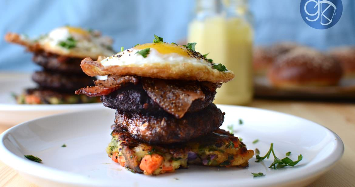 Asian Spiced Pork Sausage with Bubble & Squeak Breakfast Stacks