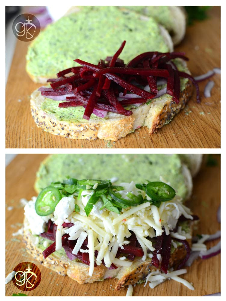 Pickled Beet and Basil Grilled Cheese Sandwich