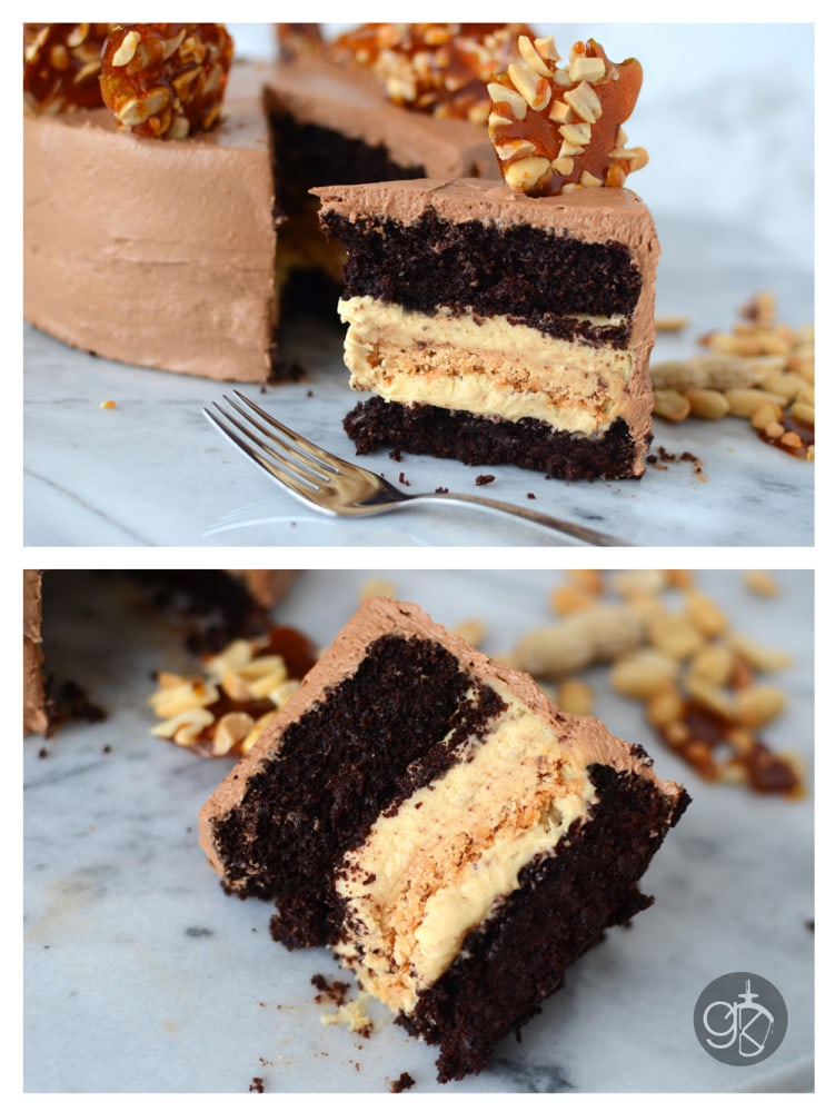 Chocolate & Peanut Cake with Caramel Peanut butter Nougat Filling & Chocolate French Buttercream