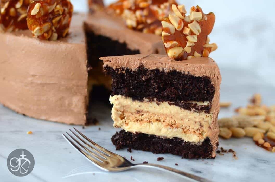 Chocolate Peanut Cake with Caramel Peanut Butter Nougat Filling