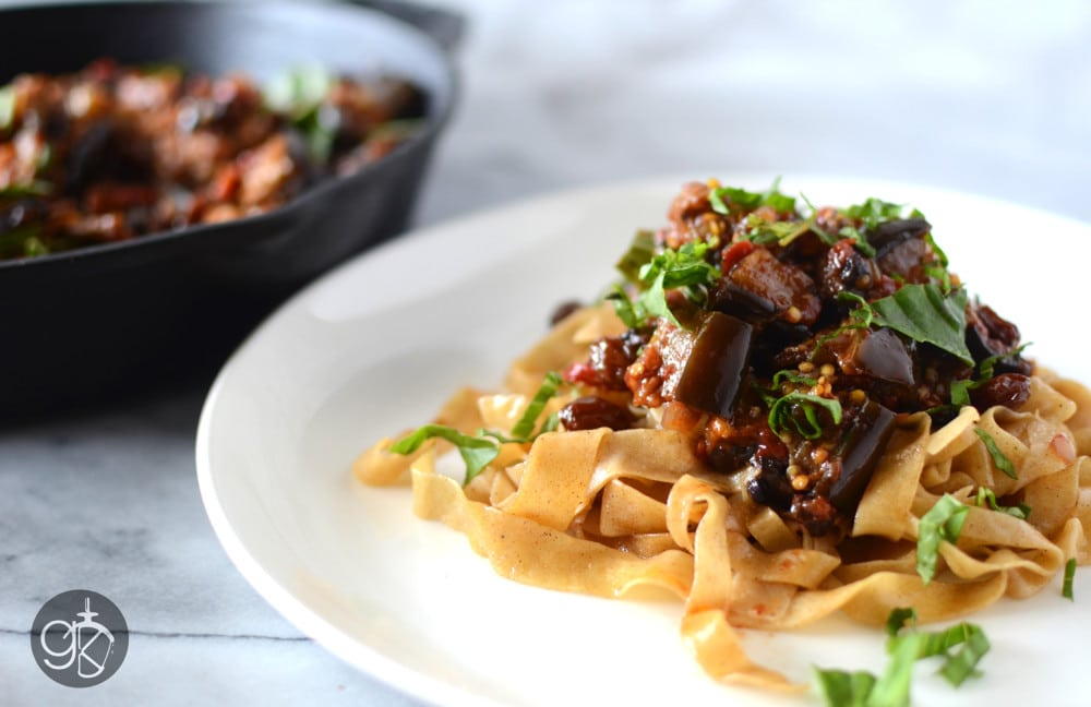 Roasted Eggplant Caponata with Brown Butter Pasta | The Flavor Bender