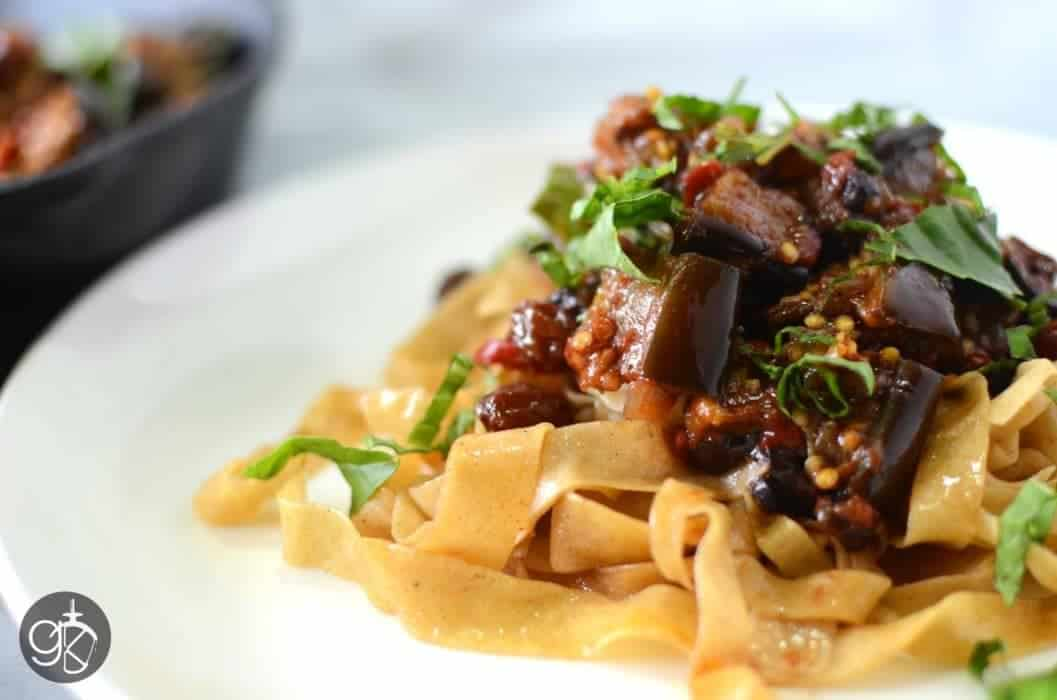 Roasted Eggplant Caponata with Brown Butter Pasta