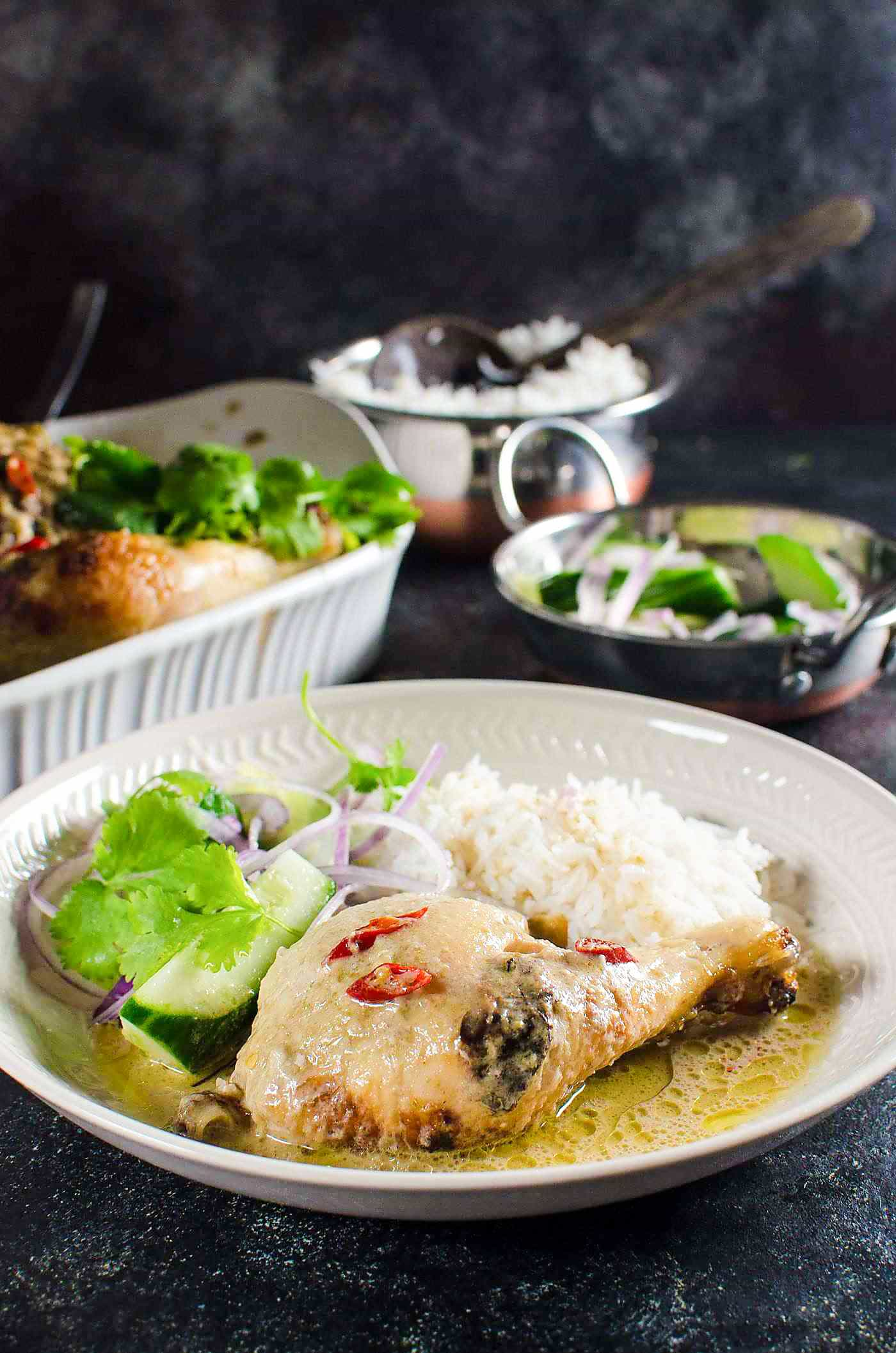 Thai Green Curry Roasted Chicken - Tips to make perfectly cooked, succulent flavorful Roast Chicken with a creamy and spicy Thai Green Curry gravy