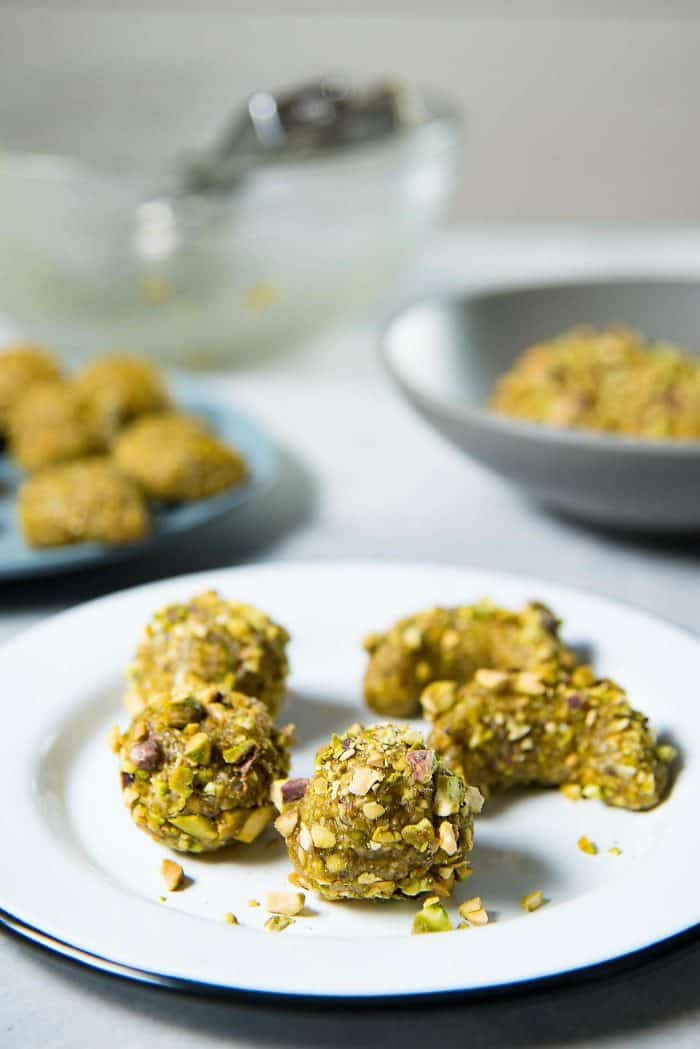 Italian Pistachio Cookies - Roll the cookie dough in extra chopped pistachios for extra crunch and texture!