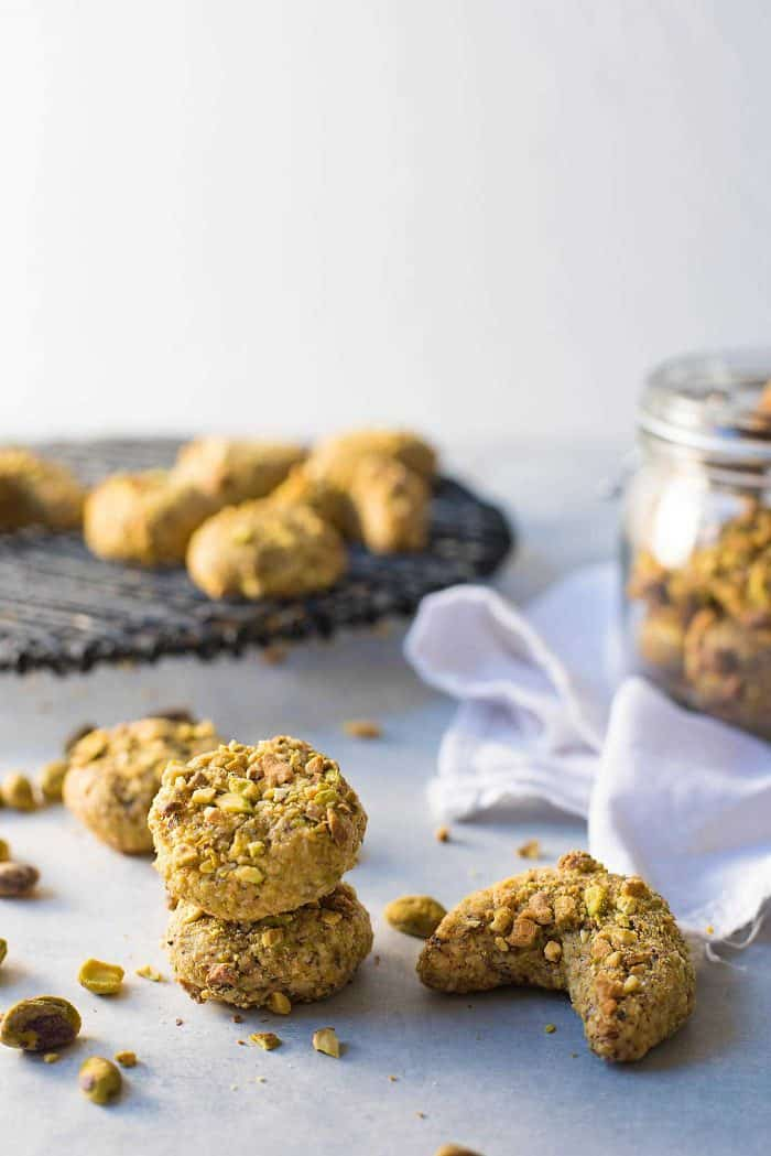 Italian Pistachio Cookies - Only 4 ingredients! Gluten free, soft and fudgy pistachio cookies that are easy to make and ready in under 30 minutes!