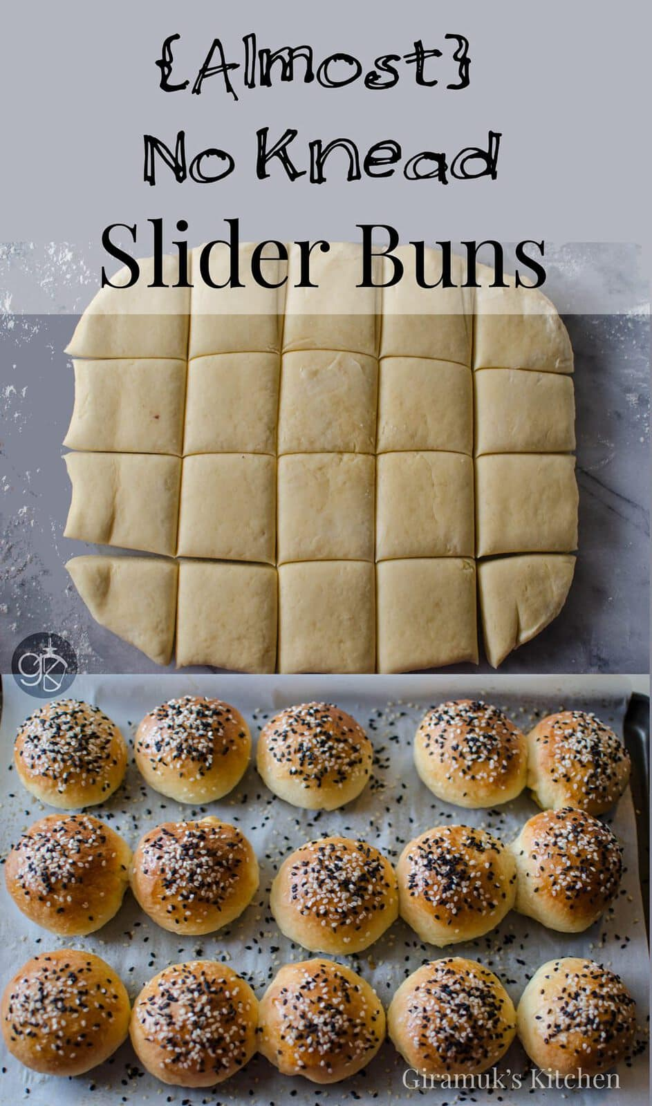 Almost No Knead Slider Buns