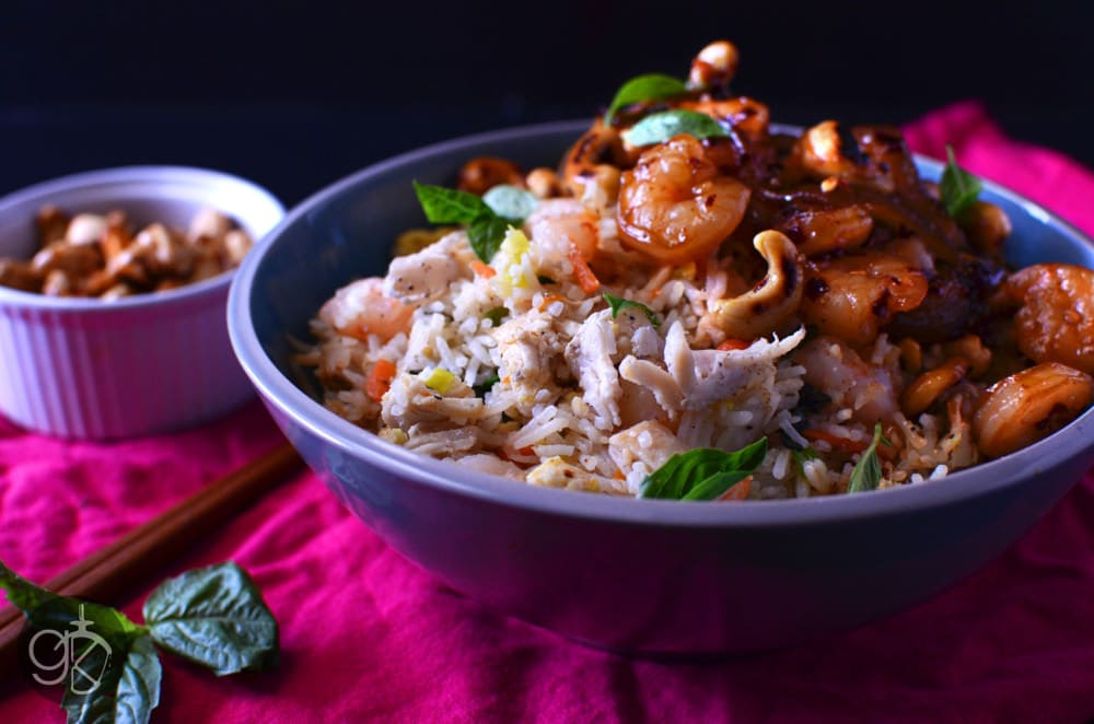 Ginger and Basil Mixed Fried Rice