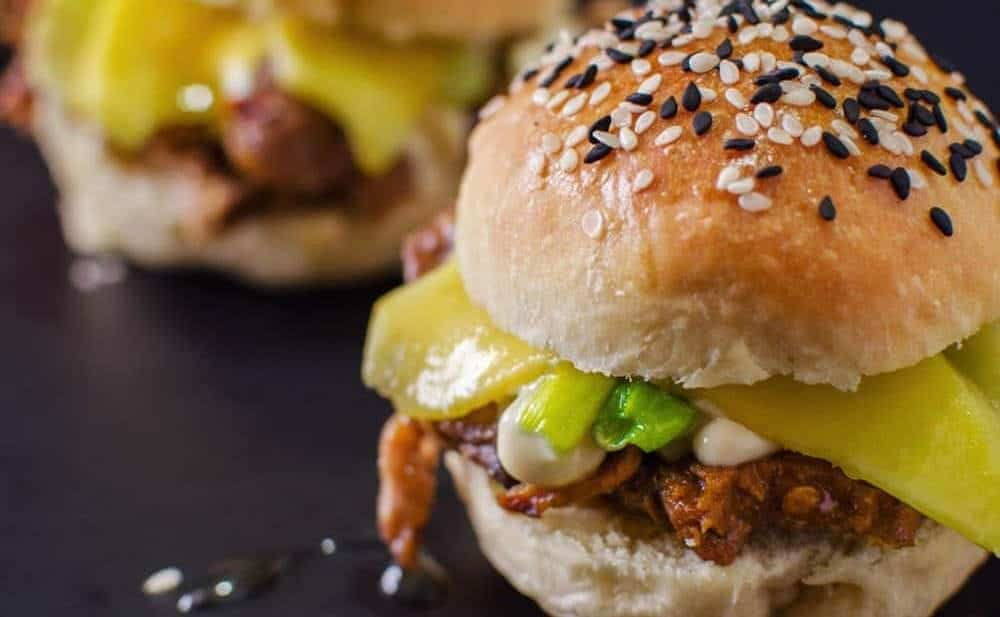 Miso and Mango Lamb Sliders with Almost No Knead Slider Buns Recipe