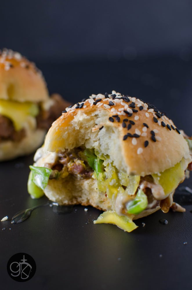 Miso Honey Mango Lamb Sliders with Almost No Knead Slider Buns