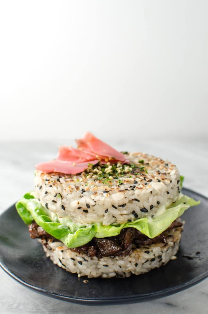 "Teriyaki Steak Sushi Burger - Whether you are outraged or intrigued, you cannot deny that this Steak Sushi Burger is insanely delicious! Delicious Teriyaki Glazed steak strips inside perfectly seasoned Sushi Rice ""Buns"" and topped with a glorious Egg. Everything you love about Sushi, but as a burger! So easy to make. CLICK to get the recipe. REPIN for later. #TheFlavorBender"