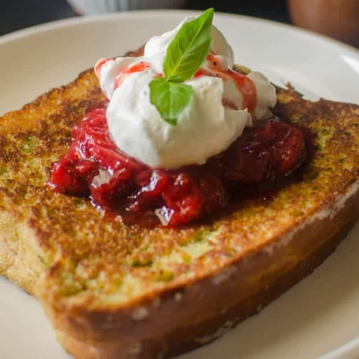 Dairy Free Basil and Nutella French Toast with Strawberry Black Pepper Compote