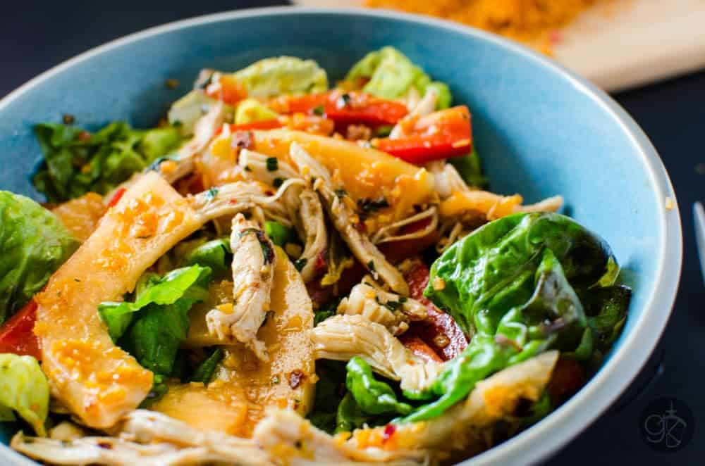 Chicken and Melon Salad with Coconut Sambal A delicious and fresh Chicken and Melon Salad with a tangy and spicy tamarind dressing and a spicy coconut sambal topping