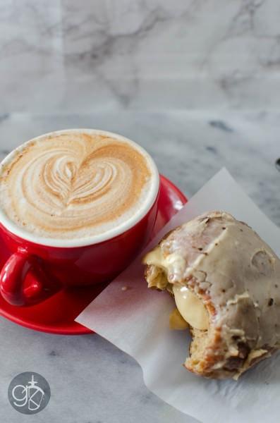 Glazed Coffee Doughnuts with Coffee