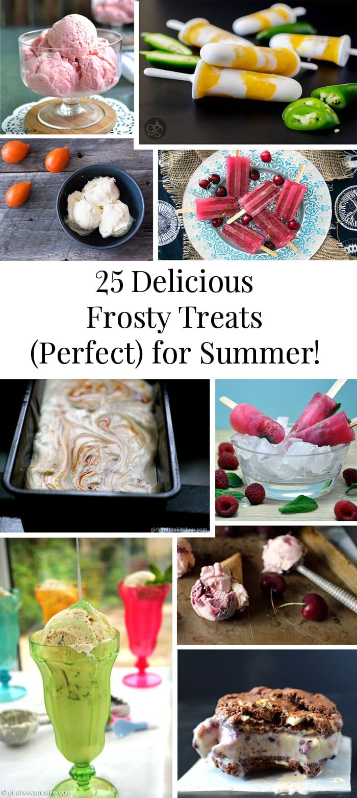 25 Delicious Frosty Summer Desserts Round up - Ice Creams, Popsicles, and Sorbets! Refreshing and delicious list of desserts to keep you cool in Summer.