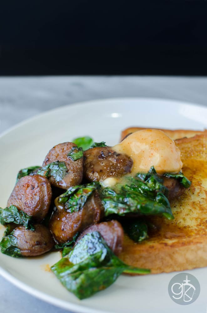 Savoury French Toast with Maple Sriracha Sausages - Sweet and Spicy and easy to make! It goes perfectly with just about anything, but I love it with French Toast!