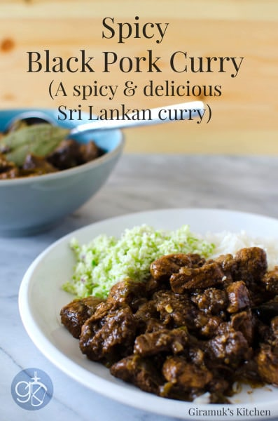 Sri Lankan Black Pork Curry - This Sri Lankan Pork curry gets the name from the dark coloured curry spice and has a peppery and delicious sour flavour! Best way to make Pork Curry.