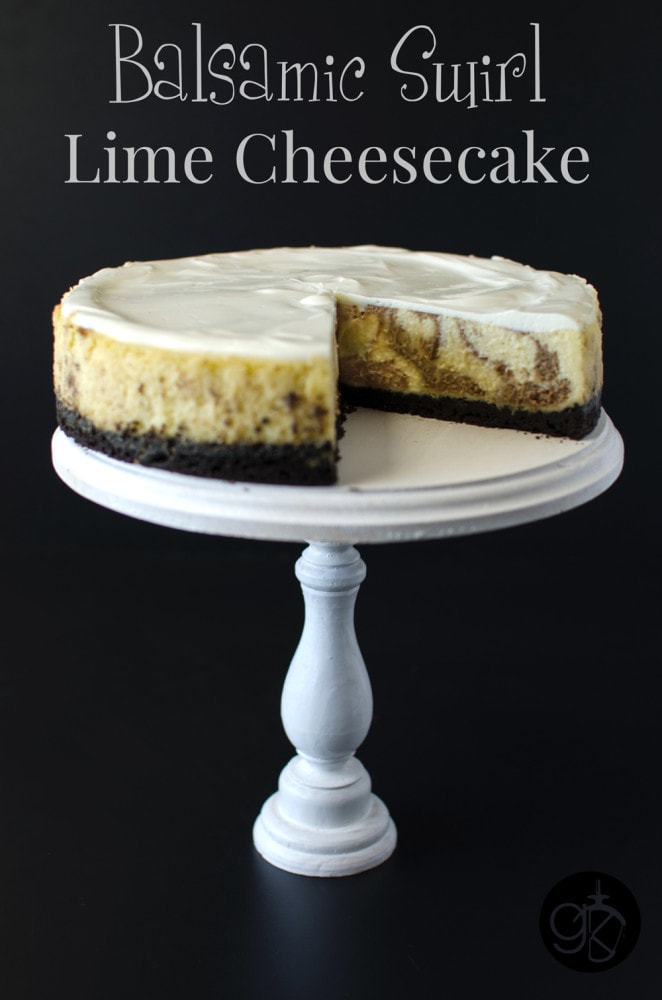 Balsamic Swirl Lime Cheesecake - Deliciously creamy Baked Lime Cheesecake with a tangy balsamic swirl that takes your ordinary cheesecake to a whole new level!