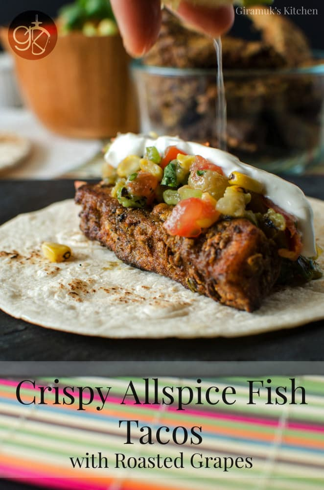 Crispy Allspice Fish Tacos with Salsa and Roasted Grapes - Smoky and spiced Tilapia fillets lightly floured and fried. Crispy and delicious, it's perfect to eat on its own or in a taco with a fresh crunchy salsa!