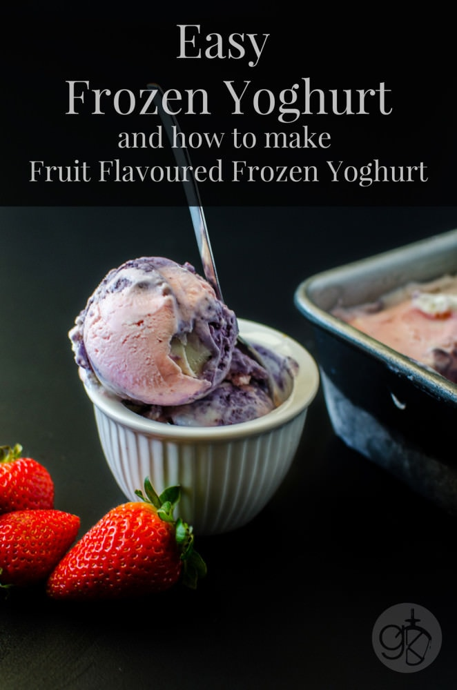 How to make Easy Frozen Yoghurt with Fruit Flavours - Get the swirled effect for your frozen yoghurt with natural Fruit Puree - Strawberry Frozen Yoghurt, Blueberry Frozen Yoghurt and Lemon Frozen Yoghurt