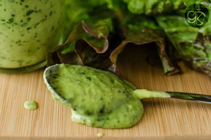 Creamy Kiwifruit and Avocado Salad Dressing - Gluten Free and Vegan - Ready in minutes, it's so easy to make and absolutely delicious on salads AND as a dip!