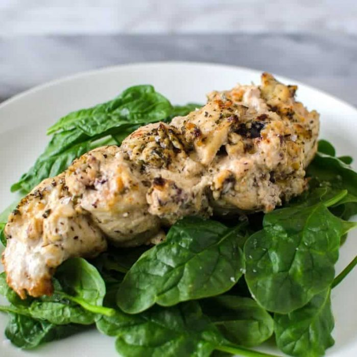 Roasted Cream Cheese Stuffed Greek Chicken - Marinated Chicken Breast stuffed with Cream cheese with Olives and Greek Seasoning and roasted to perfection! Absolutely delicious!