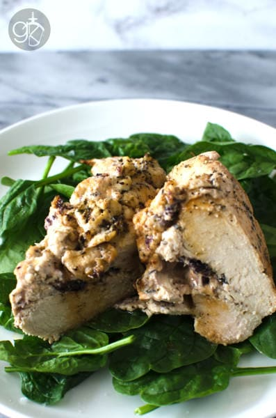Roasted Cream Cheese Stuffed Greek Chicken Breast - Marinated Chicken Breast stuffed with Cream cheese with Olives and Greek Seasoning and roasted to perfection! Absolutely delicious!