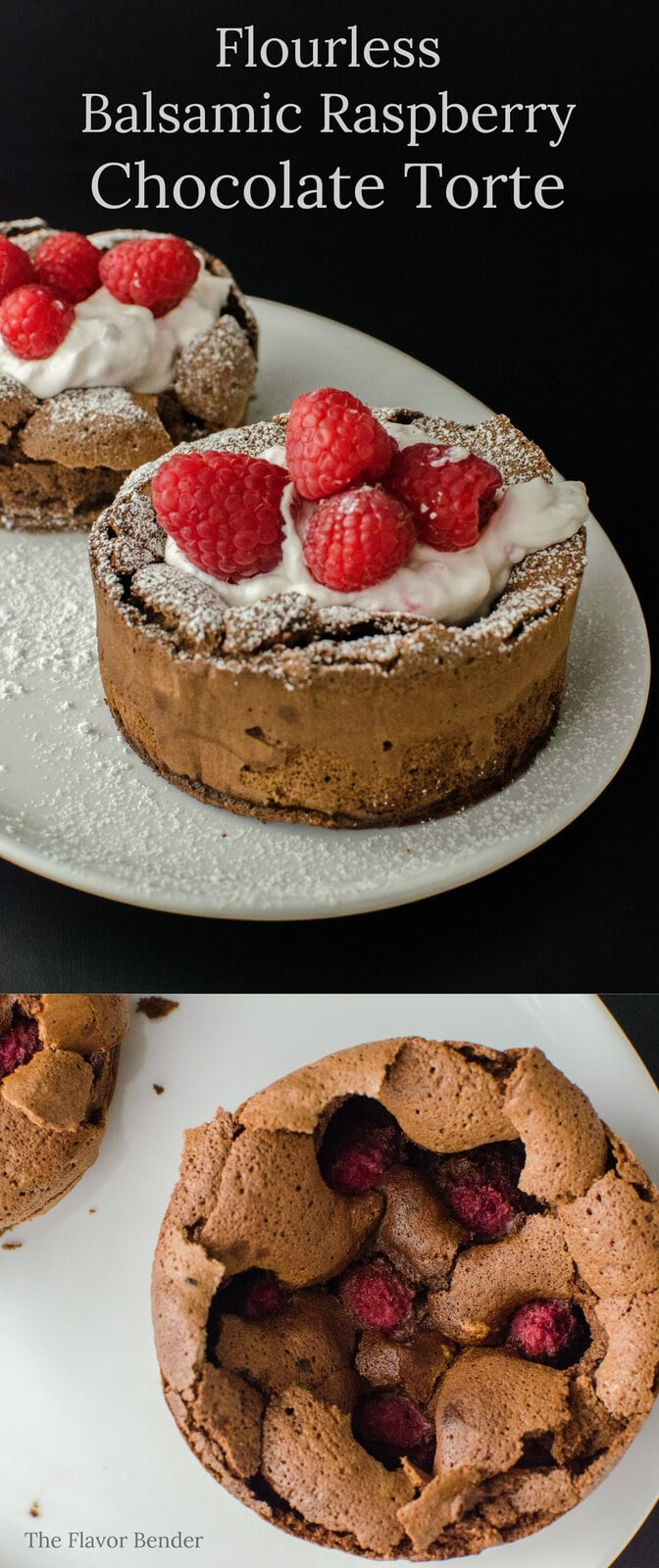 A flourless chocolate Torte with Balsamic and Raspberry - A Gluten Free, Dairy free friendly, easy and decadent dessert perfect for two! The perfect dessert to celebrate love and life.