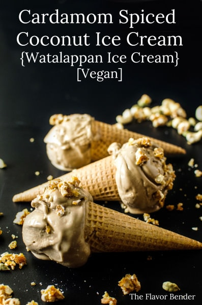 Vegan Cardamom Spiced Coconut Ice Cream - (aka - Watalappan Ice Cream) A Sri Lankan Classic dessert turned into an ice cream that has no dairy and no eggs (Vegan). Insanely creamy, with a touch of spice and topped with a sweet and crunchy Cardamom and Cashew Praline!