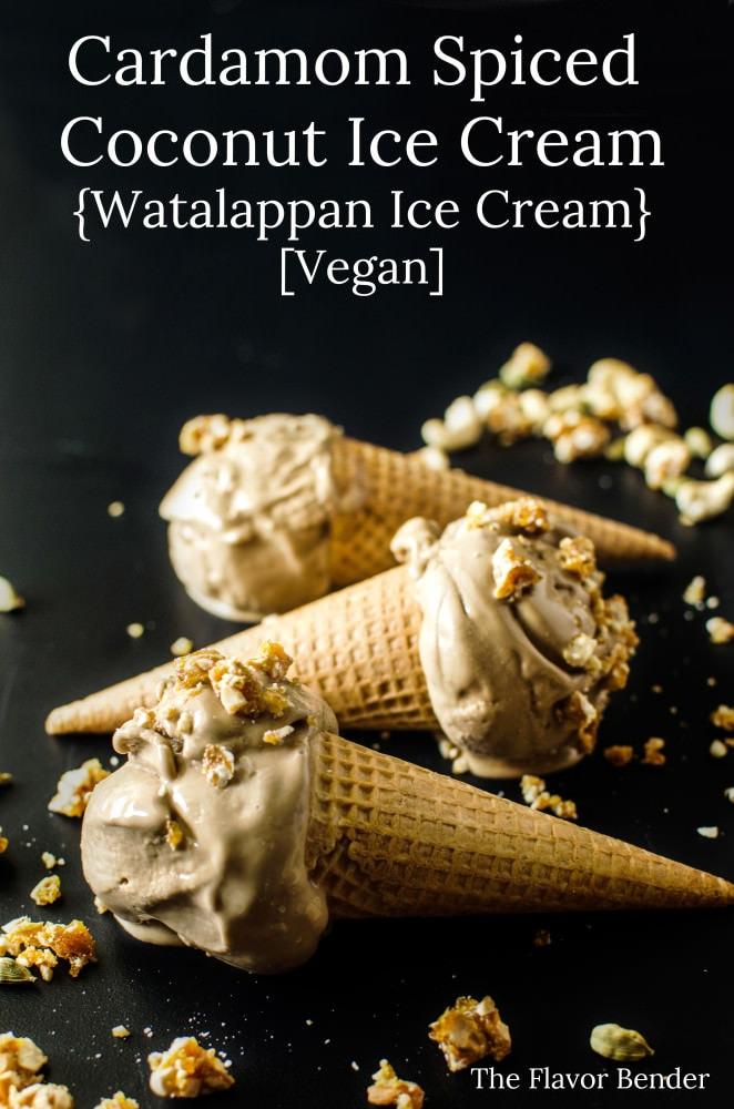 Vegan Cardamom Spiced Coconut Ice Cream - (aka - Watalappan Ice Cream) A Sri Lankan Classic dessert turned into an ice cream that has no dairy and no eggs (Vegan). Insanely creamy, with a touch of spice and topped with a sweet and crunchy Cardamom and Cashew Praline! (Vegan Cardamom Ice Cream)