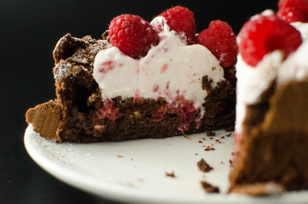 Flourless Balsamic Raspberry Chocolate Torte - A Gluten Free, Dairy free friendly, easy and decadent dessert perfect for two! The perfect dessert to celebrate love and life.